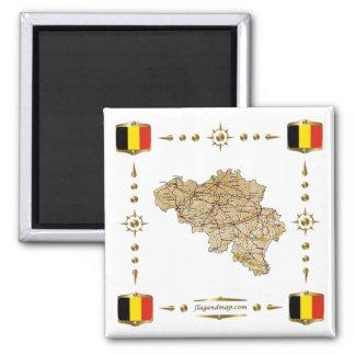 Belgium Map + Flags Magnet