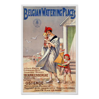 Belgium Ostende Vintage Travel Poster Restored