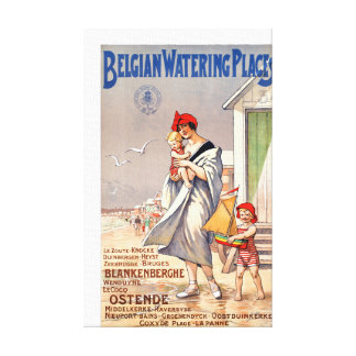 Belgium Ostende Vintage Travel Poster Restored Canvas Print