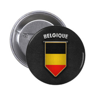 Belgium Pennant with high quality leather look 2 Inch Round Button