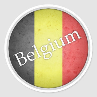 Belgium Round Grunge Flag Badge Classic Round Sticker