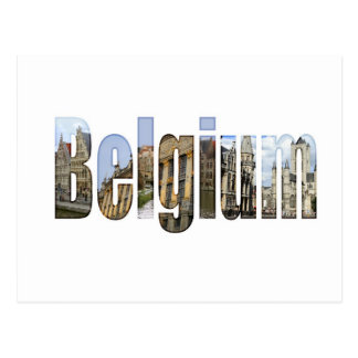 Belgium tourist attractions in letters postcard