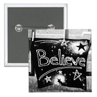 Believe 2 Inch Square Button