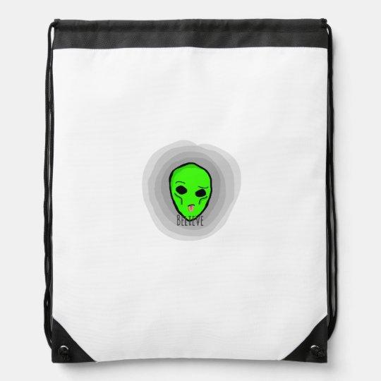 Believe alien drawstring bag