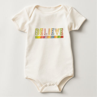 BELIEVE Bible Verse in Stylish Typography Baby Bodysuit