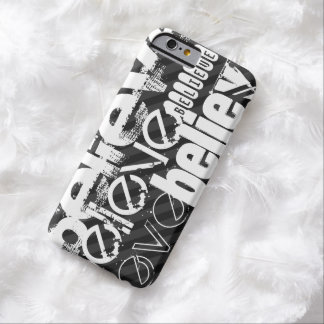 Believe; Black & Dark Gray Stripes Barely There iPhone 6 Case