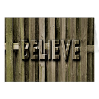 BELIEVE, Blank,TYPOGRAPHY, Wooden Fence Card