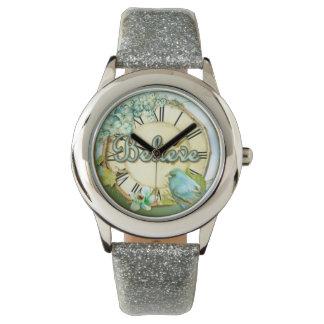 BELIEVE bluebird and floral girly design Watch