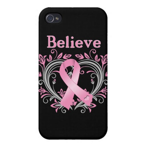 Believe Breast Cancer Awareness Ribbon iPhone 4 Cover