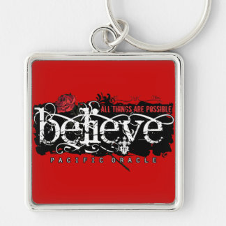 Believe - by Pacific Oracle Silver-Colored Square Keychain
