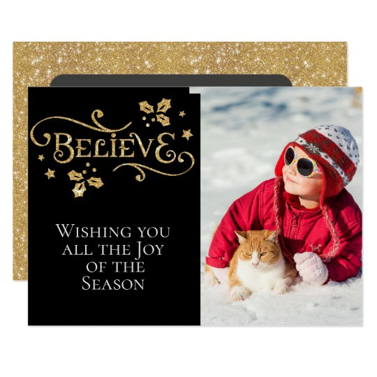 BELIEVE /Christmas/2-Sided Card/Gold and Black Card