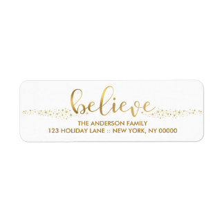 Believe Christmas Faux Gold Foil Hand Script Label Return Address Label