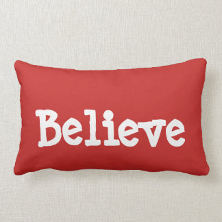 """Believe"" Christmas red pillow"