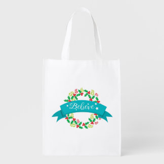 Believe Christmas Wreath Reusable Grocery Bag