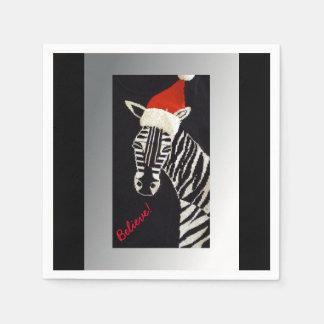 Believe! Christmas Zebra with Red Santa Hat Paper Napkins