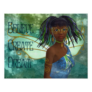 Believe,Create, Dream African American Fairy Poster