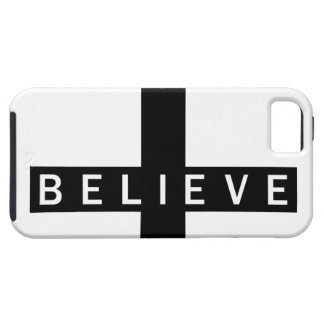 Believe Cross Horizontal Blk & Wht iPhone 5 Case