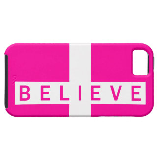 Believe Cross Horizontal Magenta Wht iPhone 5 Case