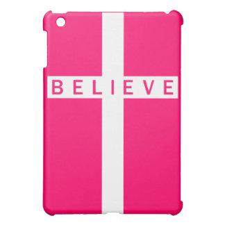 Believe Cross Vertical White Pink iPad Mini Case