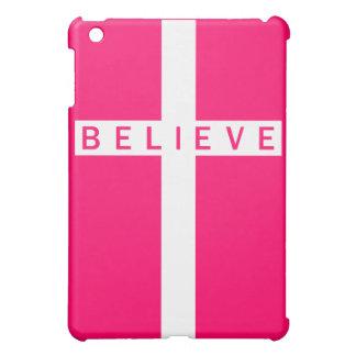 Believe Cross Vertical White Pink iPad Mini Case