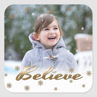 Believe. Custom Christmas Photo Stickers