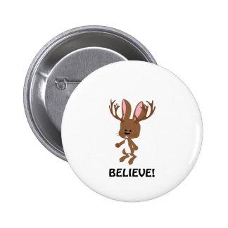 Believe! Cute Jackalope 2 Inch Round Button