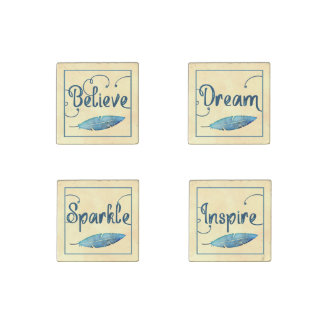 Believe Dream Inspire Sparkle Feather Watercolor Stone Magnets