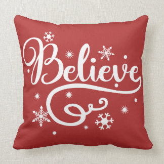 Believe dual color throw pillow