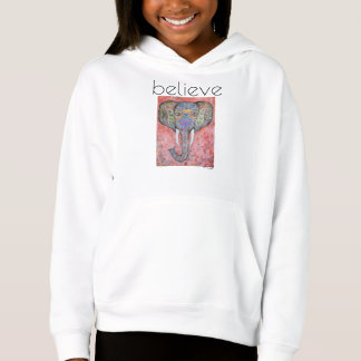 Believe Elephant Art Girl's Fleece Pullover