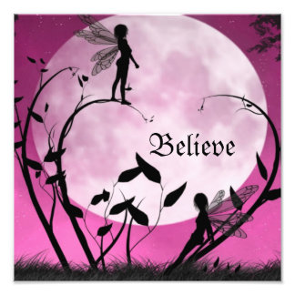 Believe fairy moon print photographic print