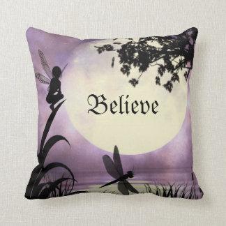 Believe fairy throw pillow