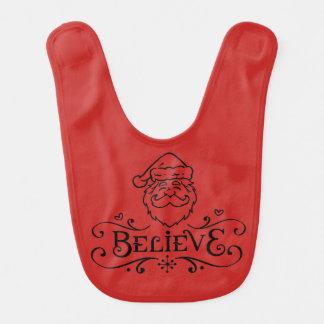 """""""Believe"""" Father Christmas Baby Bib"""