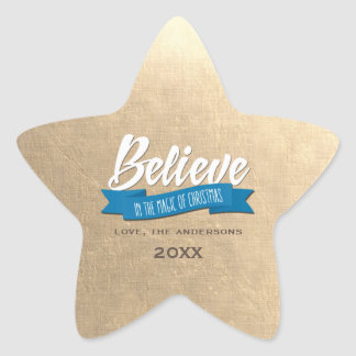 Believe. Faux Gold Foil Custom Christmas Stickers