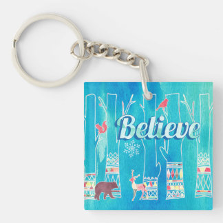 Believe Festive Woodland Winter Watercolor Single-Sided Square Acrylic Keychain