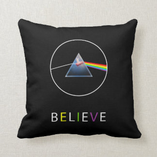 BELIEVE-Flying Pig in Prism Throw Pillow