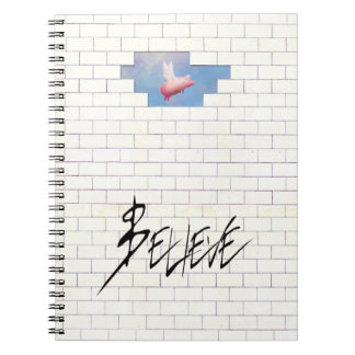 believe-flying pig through the wall notebook