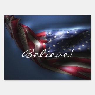 Believe!-Glowing American Flag Sign
