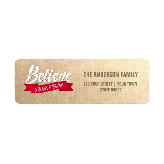 Believe. Gold Foil Return Address Labels