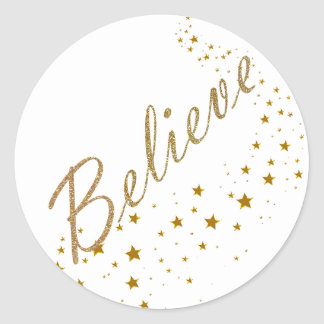 Believe Gold Stars Christmas Stickers