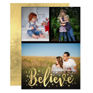 Believe Gold Writing Christmas 3 Photo Greeting Card