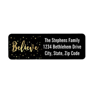Believe Gold Writing Christmas Return Address