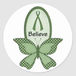 Believe- Green Awareness Classic Round Sticker
