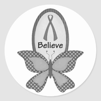 Believe- Grey or Silver Awareness Classic Round Sticker