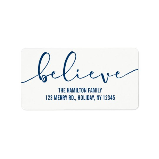 Believe HOLIDAY BLUE Hand Lettered Script Label