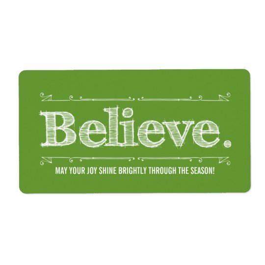 Believe Holiday Homemade Craft or Gift Label