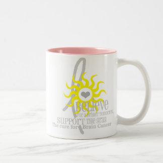 believe in a bright tomorrow Two-Tone coffee mug
