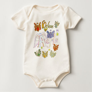 Believe in Angels Inspirational Art Clothing Baby Bodysuit