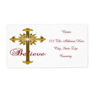 Believe In Christ Christmas Shipping Label