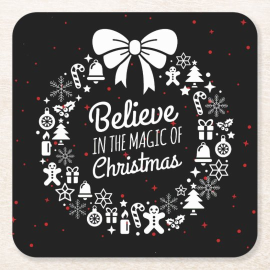 Believe in Christmas Chalkboard Holiday Wreath Square Paper Coaster