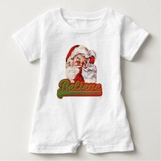 Believe In Christmas Cute Santa Claus Baby Romper